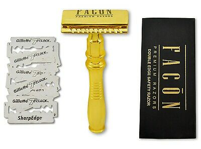 Men's Classic Double Edge Shaving Safety Razor Butterfly Long Handle GOLD Blades