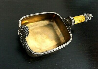 old Russian imperial K. Faberge design 88 SILVER BOWL КОВШ with Enamel handle