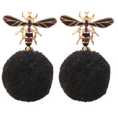 Elegant Bug Insect Big Pom Pom Ball Statement Stud Earrings for Anniversary one