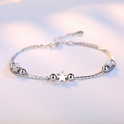Women Five-pointed Star Round Shape Beads Chic Silver Color Bracelets LH