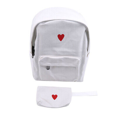Korean Style Girls Large Capacity Canvas Heart Print Students School Backpack ON