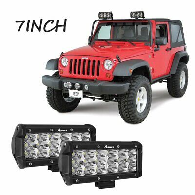 Pair 7''inch Tri-row Cree LED Work Light Bar Spot For Jeep Offroad Boat SUV ATV