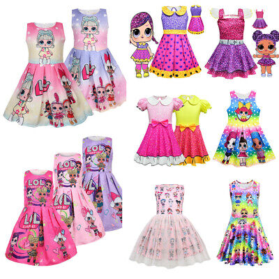 Girls Lol Surprise Doll Princess Dress Kids Party Birthday Holiday Wedding Dress