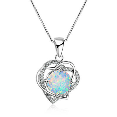 Women Silver Plated Necklace Pendant Heart Shape Jewelry Crystal Chain N7