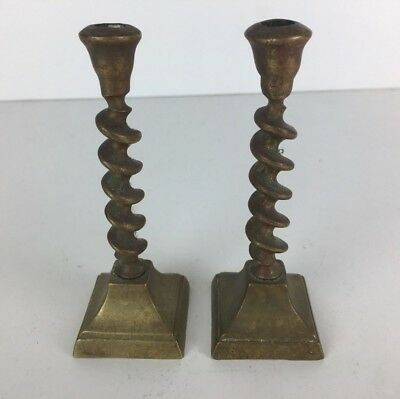 Vintage Small / Miniature Brass Candlestick Holders Barley Twist Style