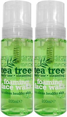 2 x 200ml Tea Tree Foaming Face Wash Daily Use for Healthy Skin Clear