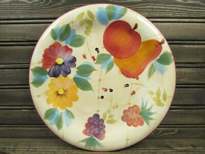Gatherings by Heritage Mint Dinner Plate Fruit & Flowers Smooth Red Trim L264