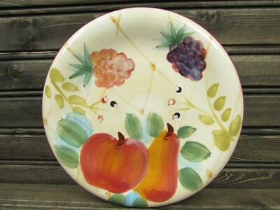 Gatherings by Heritage Mint Salad Plate Fruit & Flowers Smooth Red Trim b235