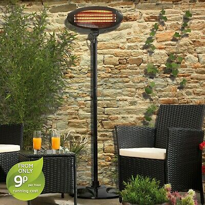 Garden Glow Electric Patio Heater Outdoor Fire Floor Standing 2000W - GRADE B