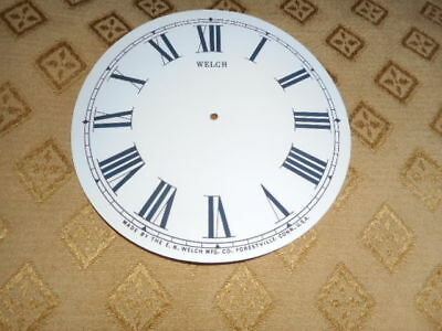 For American Clocks-Welch Paper Clock Dial-126mm M/T-Roman-GLOSS WH-Parts/Spares
