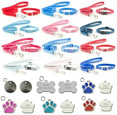 Ancol Small Bite Adjustable Puppy / Dog Collar & Lead Sets Optional Engraved Tag