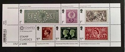 3767 STAMPEX Limited Edition RPSL Anniv 2019 Stamp Classics Miniature Sheet UM