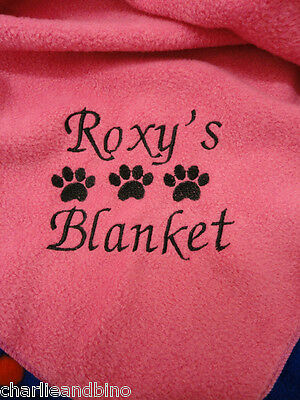 Personalised Dog - Cat Blanket choice of 7 colours, Fleece Pet Blanket