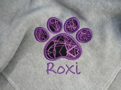 Personalised Dog Blanket, Paw Print Design, choice of colours