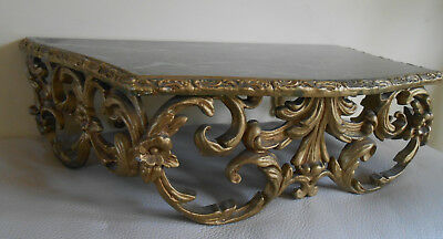 Antique Italian Style Gold Wrought Iron And Faux Marble Wall Shelf Or Stand