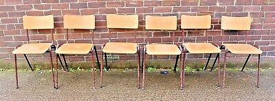 Vintage Retro 6 X Metal Frame Plywood Bentwood Stacking Chairs School Cafe Bar