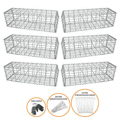 Gabion Baskets Cages Garden Mesh Stone Wire Planter / 100 x 30 x 30cm / 6 Pack