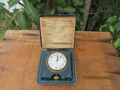 Antique OCTAVA WATCH CO.~Swiss Made~15 Jewel~8 Day Travel Clock Working Leather