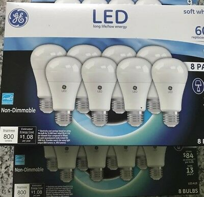 2 - 8-Pack GE 9W LED Light Bulbs 60w (2 Packs) Replacement Soft Warm A19