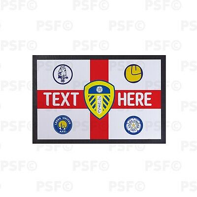 Leeds United FC Official St George England Flag Personalised Door Mat LDM010