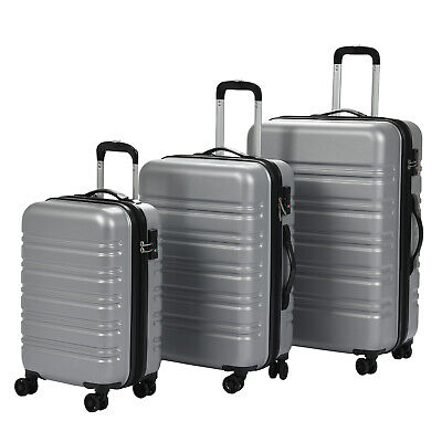 Set of 3  Luggage Set Travel Bag Expandable ABS Spinner Suitcase TSA Lock Silver