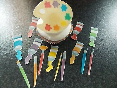 15 PRECUT edible Painter/Artists tools wafer/rice paper cake/cupcake toppers