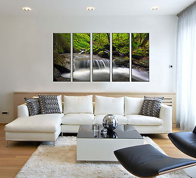 5 Piece Green Tree Waterfall Canvas Wall Art Picture Print Home Bedroom Decor