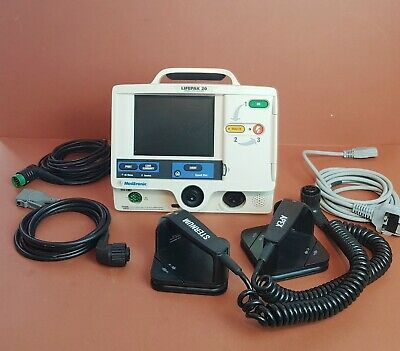 Lifepak 20 AED Defibrilator with Pacer,ECG Leads+Therapy Cable and Hard Paddles