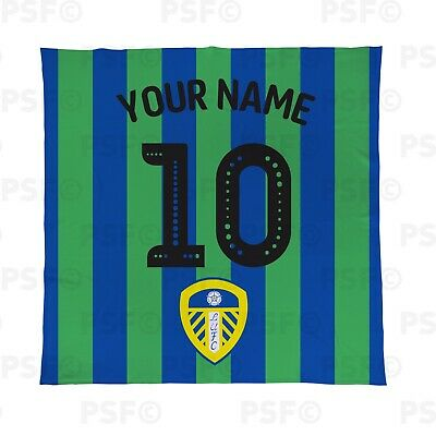 Leeds United FC Official Personalised Stripes Name Number Fleece Blanket LFB007