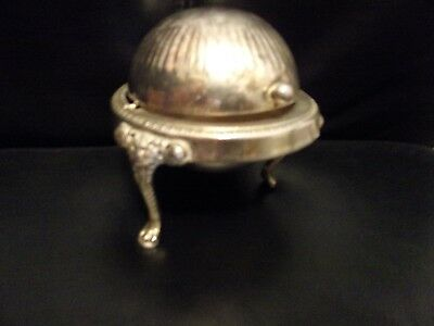 Vintage Roll Top Lion Footed Silverplate Butter Dish