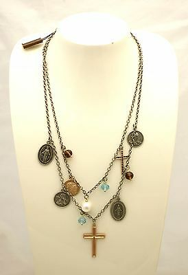 Necklace 1AR brass silver-plated with pendant theme sacred