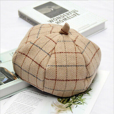 Women Letter Embroidery Beret Hat Casual Vintage Hats Female Thick Warm LH