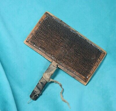 vtg well used Primitive Farm Sheep Wool Cotton Card Carding Comb Brush homemade