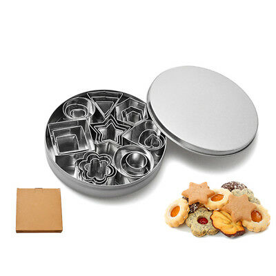 24 Pcs Baking Biscuit Cutters Set Geometric Shapes Metal Durable Biscuit Cutters