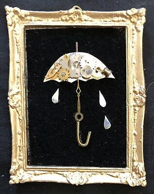"Its Raining original miniature watch piece Collage 2""x2.5"" G.Burgess Cornwall"