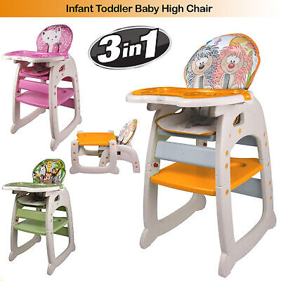 Baby Toddler Infant High Chair Eating Feeding Booster Seat Folding Adjustable UK