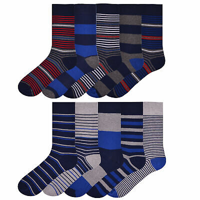 Mens 5 Pairs Design Socks Smart Golf Cotton Work Everyday Stripe Socks Size 7-11