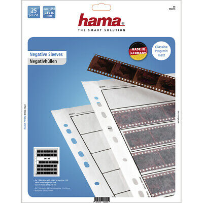 35MM NEGATIVE STORAGE SLEEVES PAGES Hama 2250 PACK 25 SHEETS NEG