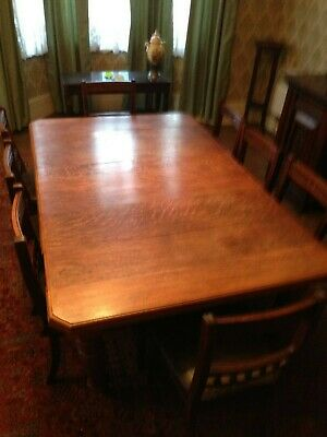 antique table & 8 chairs