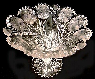 BRILLIANT CUT GLASS CRYSTAL Comport Conical Compote Tazza  Butterfly Daisy