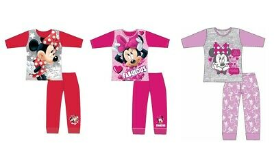 Girls Minnie Mouse Pyjamas Nightwear Long Sleeve PJs Cotton 4-10 Yrs Red Lilac