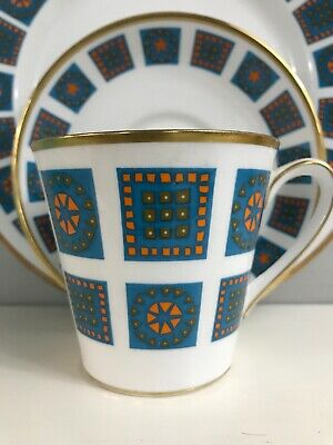Vintage Retro 1960's Abstract Windsor Marrakesh Fine Bone China Gilt Trio Rare