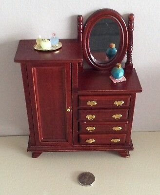 Miniature 1/12 Scale Doll House Bedroom Dresser Cabinet Wardrobe Combination
