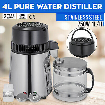 4L Water Distiller Purifier 750W Stainless Steel With Glass Jar Medical Lab 220V