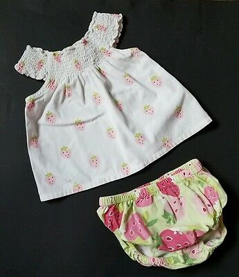 Gymboree Girls Shorts Shirt Size 6-12 Months Strawberry Fields Vtg Set Outfit