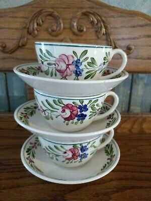Set of Three Vintage French Sarreguemines Rusticana cups and saucers
