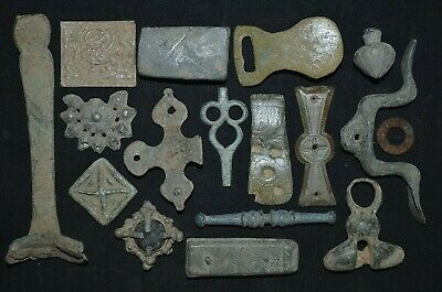 Group of 17 Ancient Viking Bronze Amulets. Detector Finds, c 950-1000 Ad. Lot