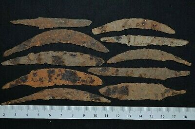 Group of 10 Ancient Viking Iron KNlFES. Small Norse Rusty BIades, c 950-1000 Ad.