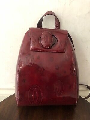 ccabcbc9759d Vintage Authentic Cartier Leather Small Backpack Patent Logo Burgundy