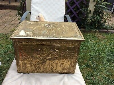 Old Vintage/Antique Brass and Wood Fire Side Box